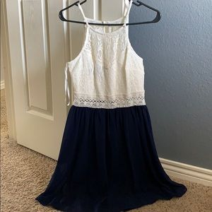 White Lace/Navy Blue Dress